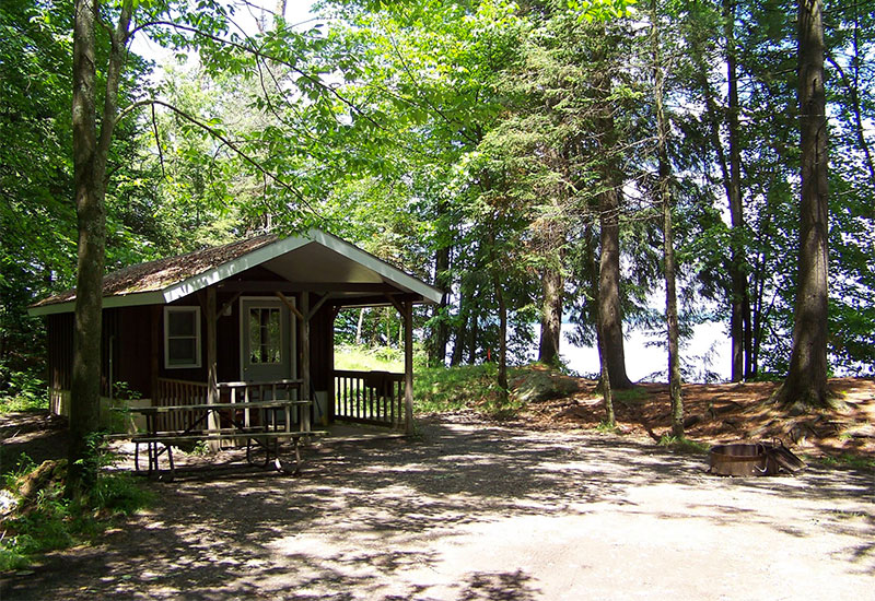 There are two lakeside cabins available to rent