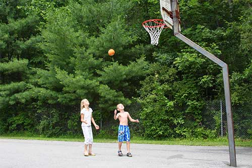 Shooting hoops at Bomoseen State Park