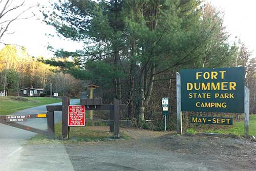 The entrance sign at Fort Dummer State Park