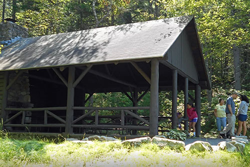 The CCC-built picnic pavilion on Owl's Head in the Groton Forest