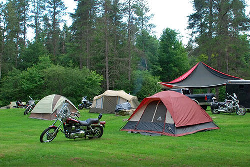 Group camping with motorcycles at New Discovery State Park