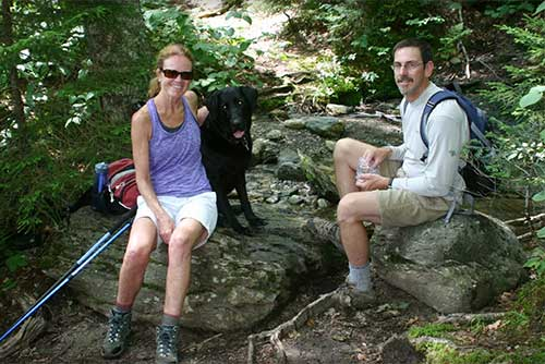 Relaxing for a moment at Smugglers' Notch State Park (photo credit: Olympia Bowker)