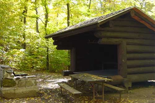 A log lean-to built by the CCC