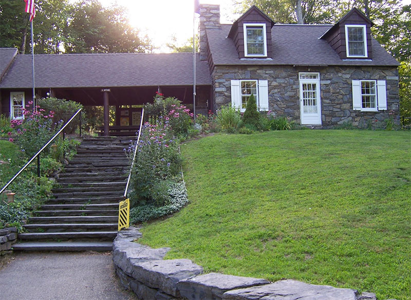 The stone park house and office was built by the Civilian Conservation Corps (CCC)
