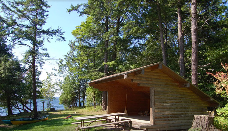The Cedar Cove lean-to has a commanding view of the lake