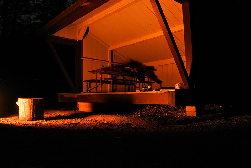 Lean-to at night