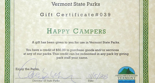 VT State Parks gift certificate