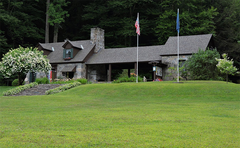 The CCC-built park manager's quarters, with attached picnic pavilion