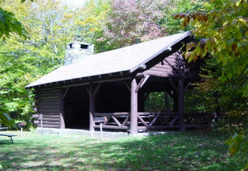 The CCC-built pavilion has a fireplace and picnic tables